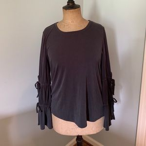 Dark grey tie sleeve knit top. New with tags